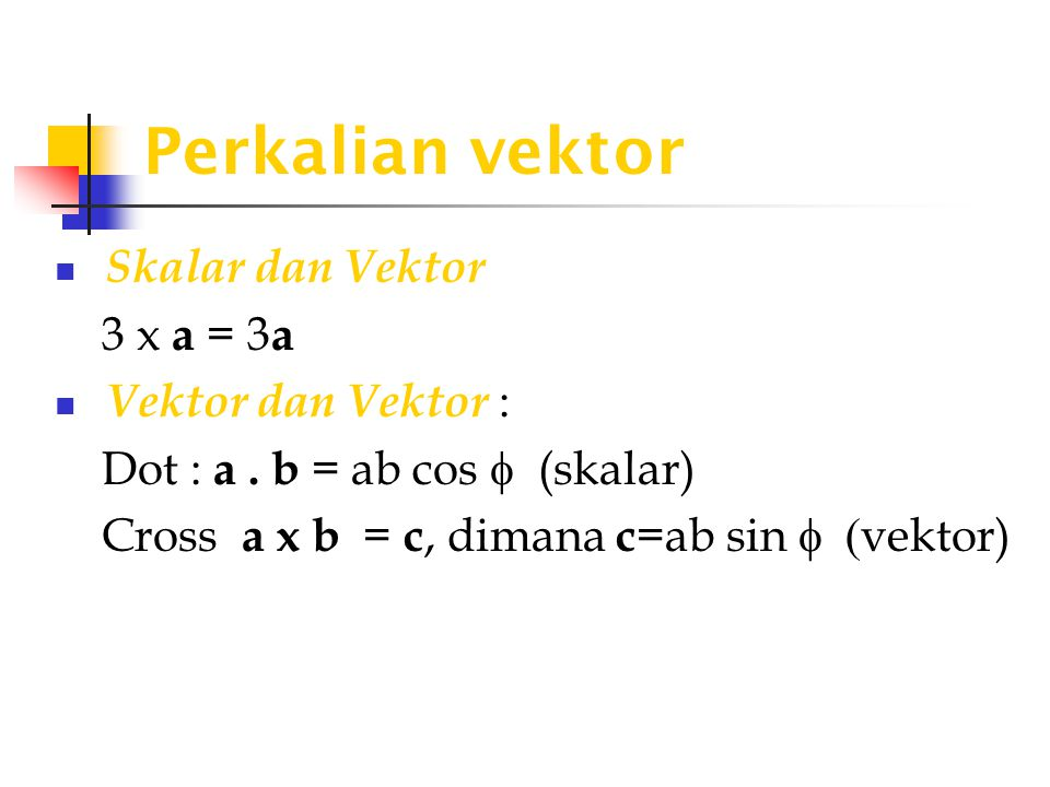 Perkalian vektor Skalar dan Vektor 3 x a = 3a Vektor dan Vektor :