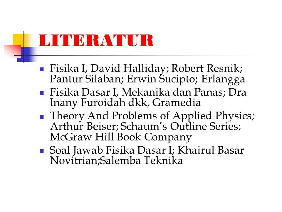 LITERATUR Fisika I, David Halliday; Robert Resnik; Pantur Silaban; Erwin Sucipto; Erlangga.
