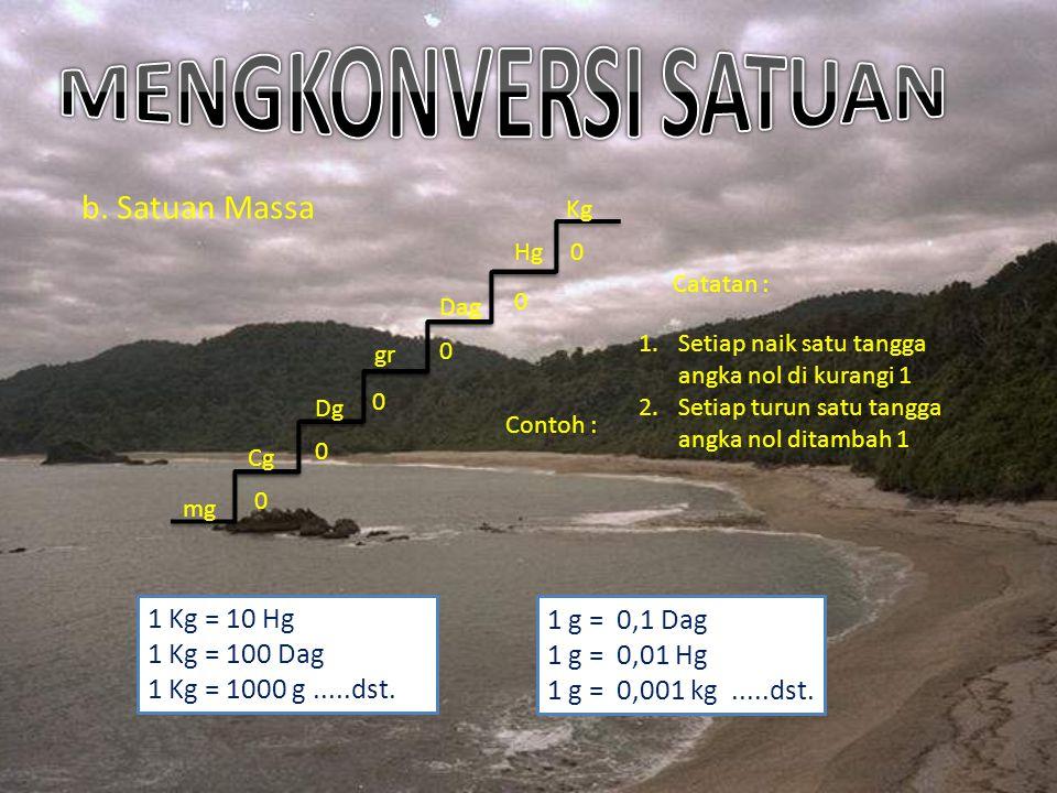 MENGKONVERSI SATUAN b. Satuan Massa 1 Kg = 10 Hg 1 g = 0,1 Dag
