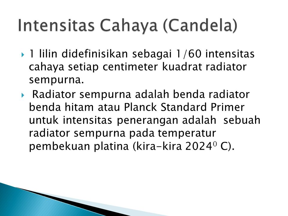 Intensitas Cahaya (Candela)