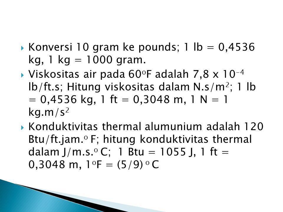 Konversi 10 gram ke pounds; 1 lb = 0,4536 kg, 1 kg = 1000 gram.
