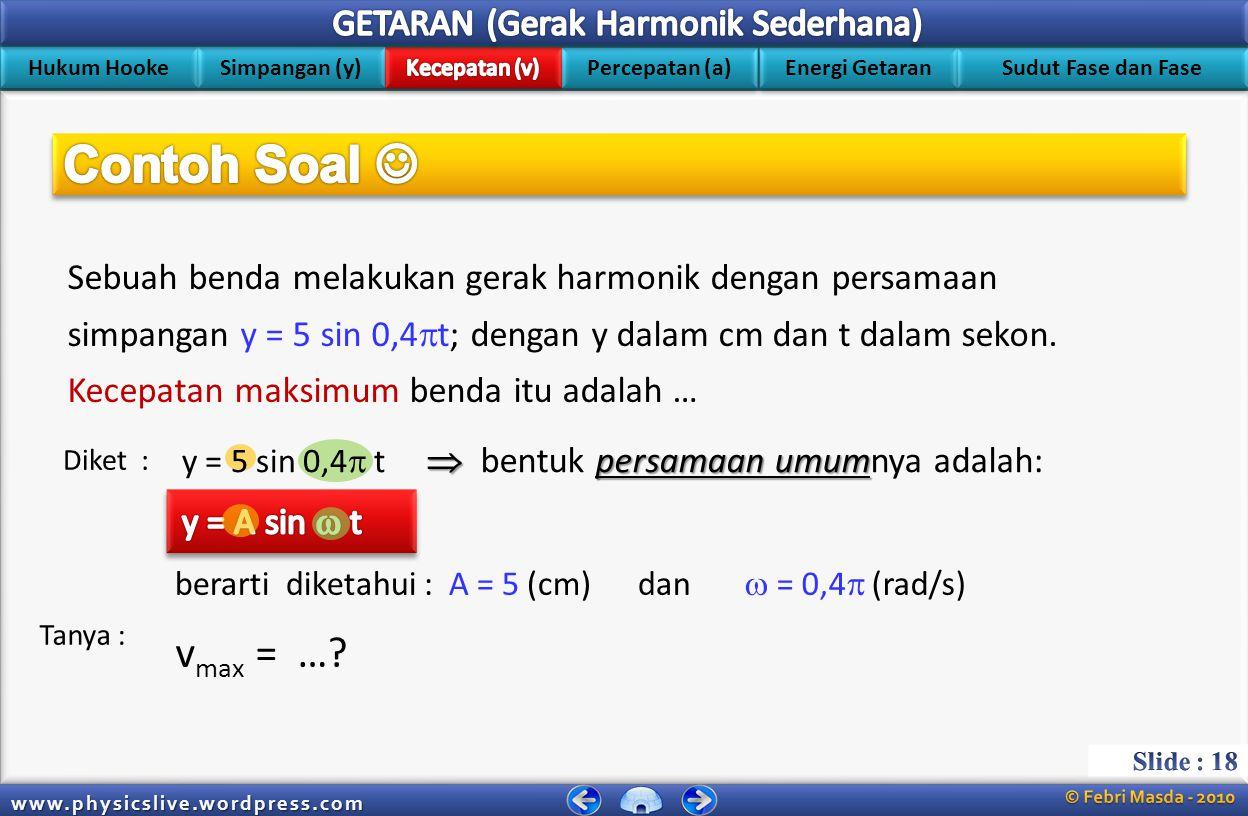 00:28:34 Contoh Soal  Sebuah benda melakukan gerak harmonik dengan persamaan. simpangan y = 5 sin 0,4t; dengan y dalam cm dan t dalam sekon.