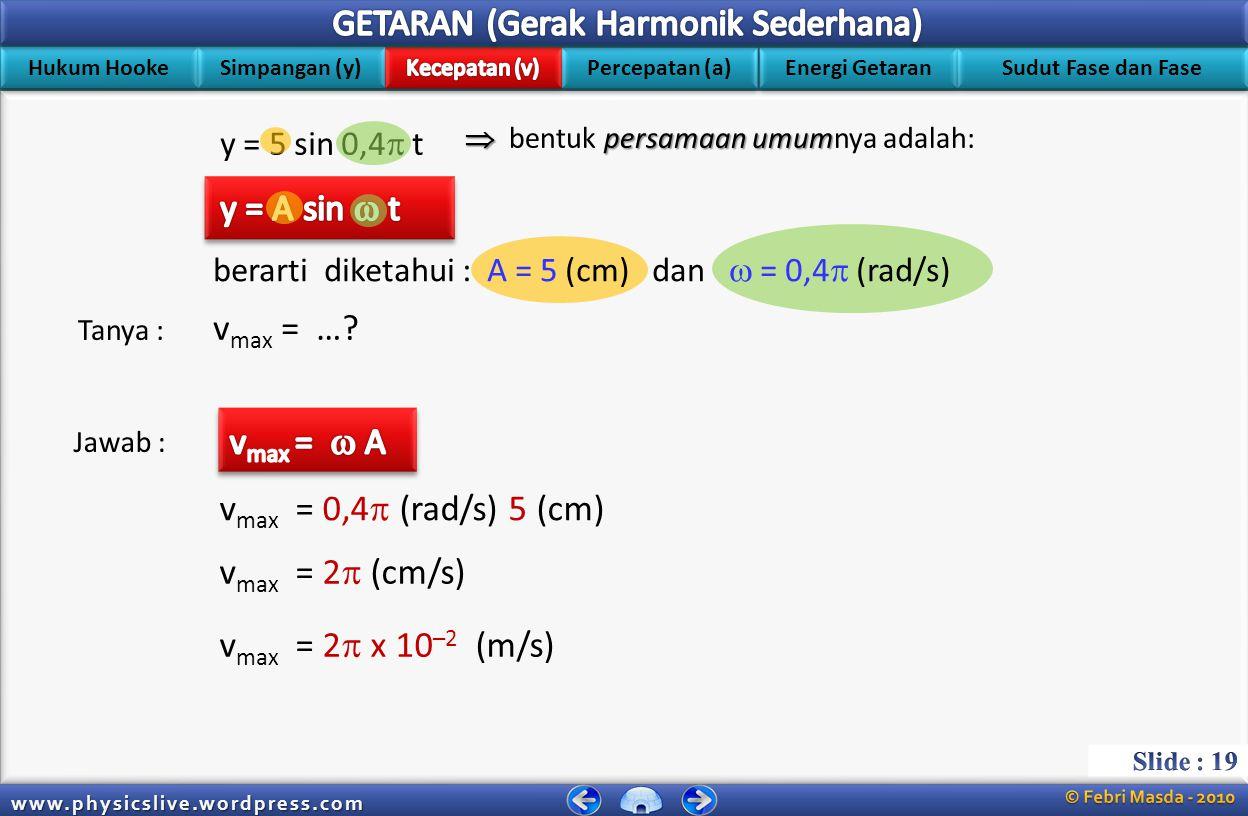 y = A sin  t vmax = … vmax =  A vmax = 0,4 (rad/s) 5 (cm)