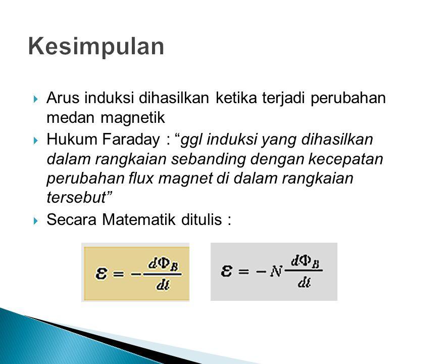 Kesimpulan Arus induksi dihasilkan ketika terjadi perubahan medan magnetik.