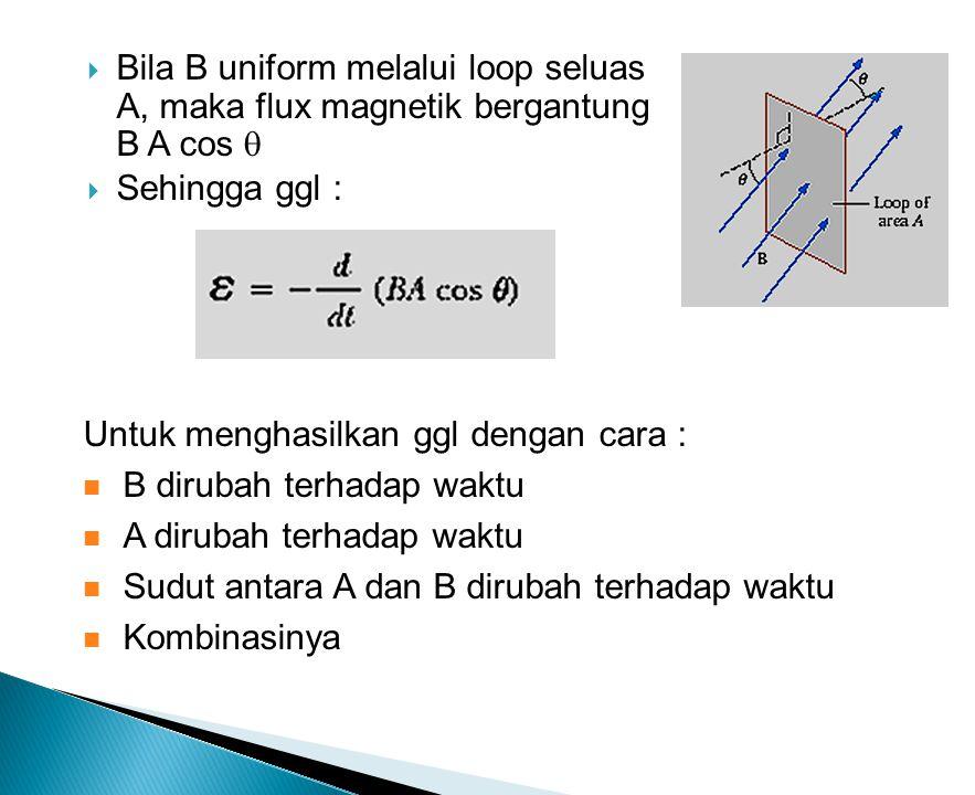 Bila B uniform melalui loop seluas A, maka flux magnetik bergantung B A cos 