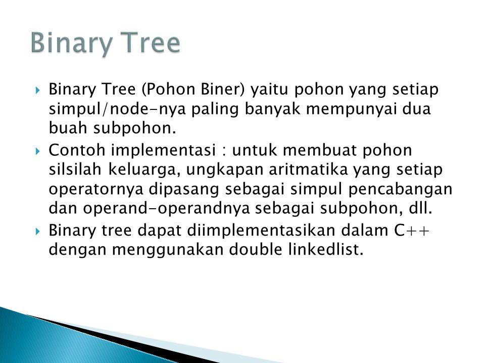 Binary Tree Binary Tree (Pohon Biner) yaitu pohon yang setiap simpul/node-nya paling banyak mempunyai dua buah subpohon.