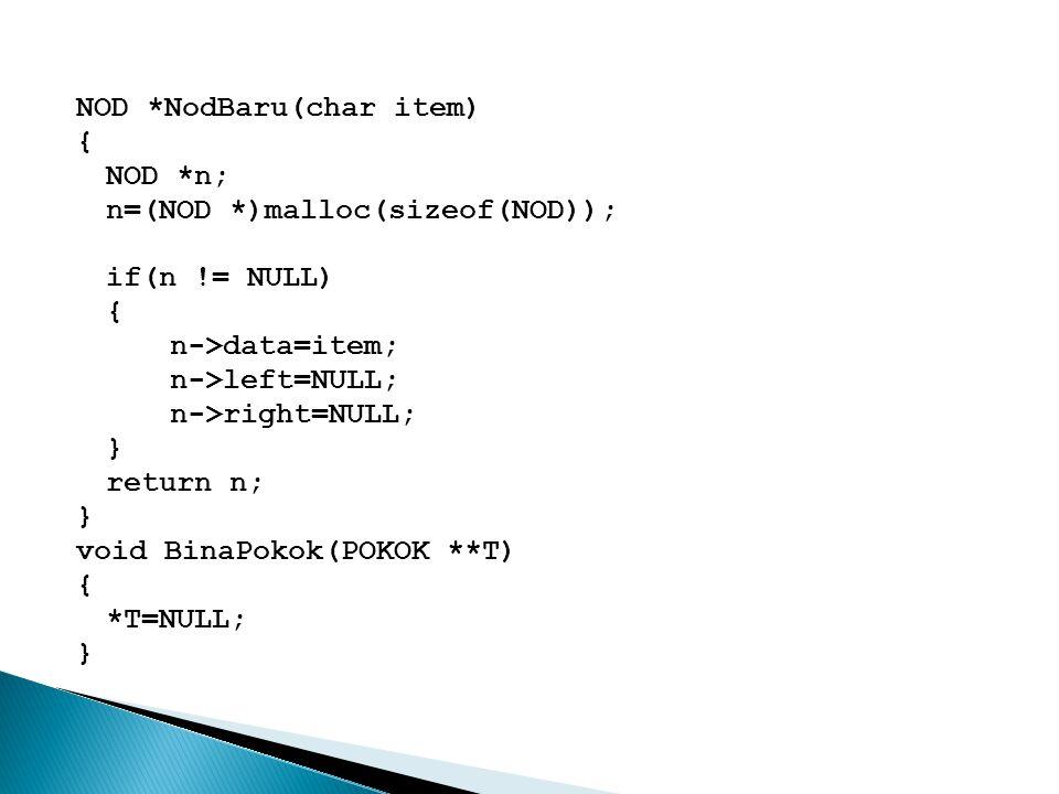 NOD. NodBaru(char item) { NOD. n; n=(NOD. )malloc(sizeof(NOD)); if(n