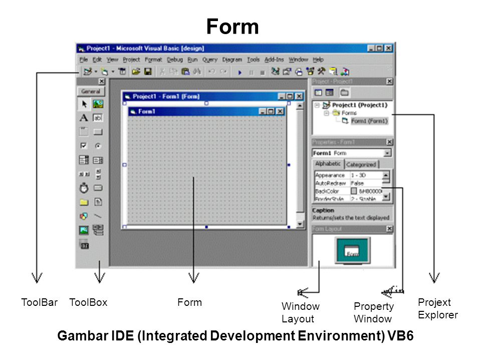 Form Gambar IDE (Integrated Development Environment) VB6 ToolBar