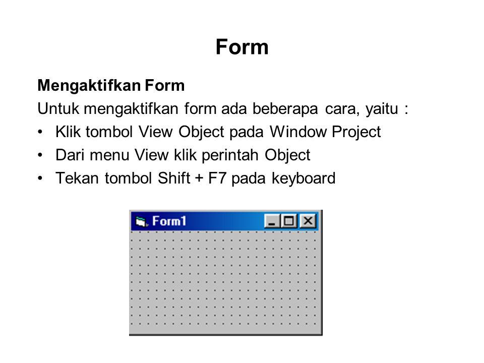 Form Mengaktifkan Form