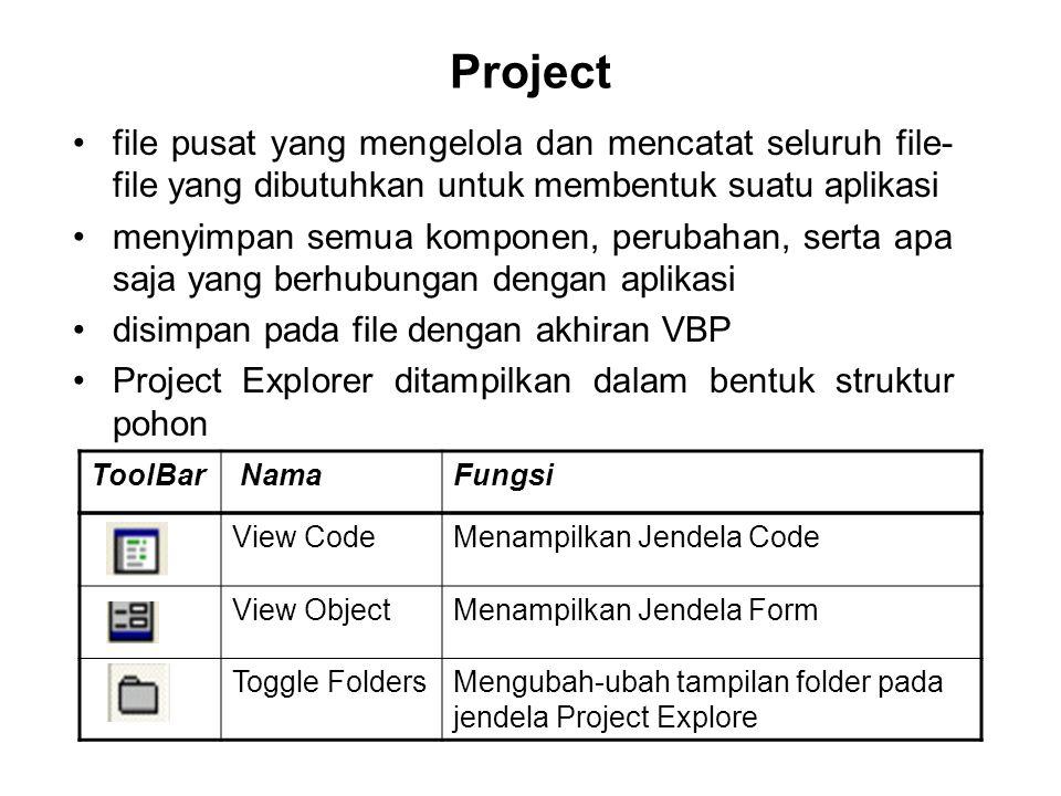 Project file pusat yang mengelola dan mencatat seluruh file-file yang dibutuhkan untuk membentuk suatu aplikasi.