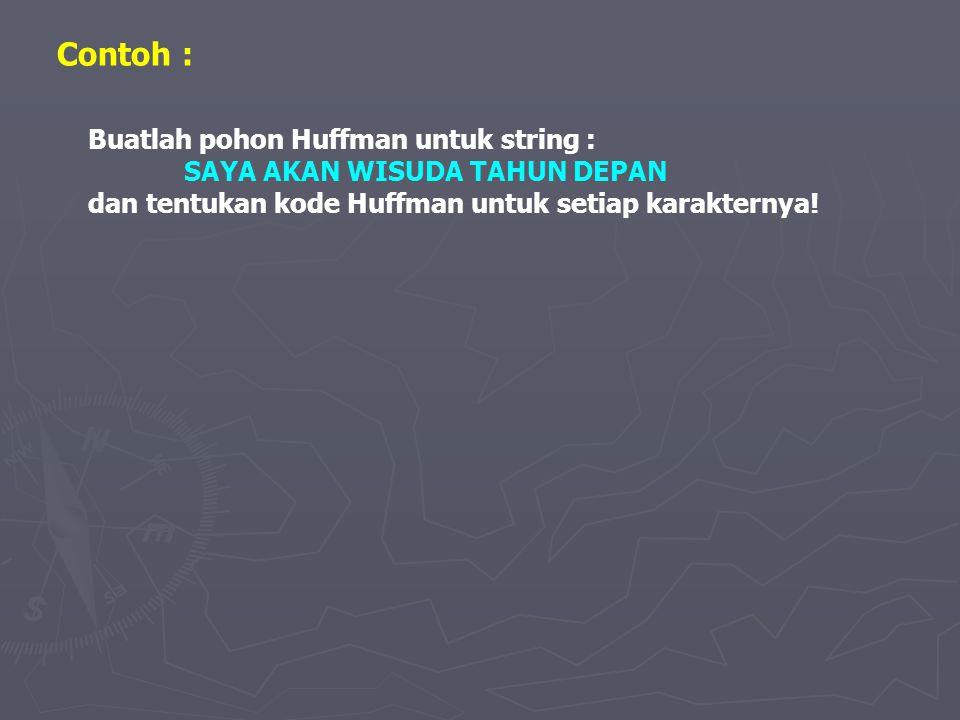 Contoh : Buatlah pohon Huffman untuk string :