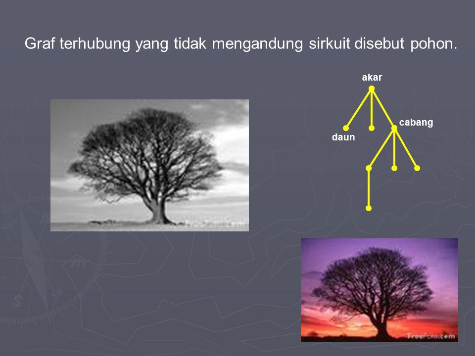 Graf terhubung yang tidak mengandung sirkuit disebut pohon.