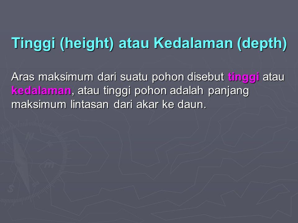Tinggi (height) atau Kedalaman (depth)