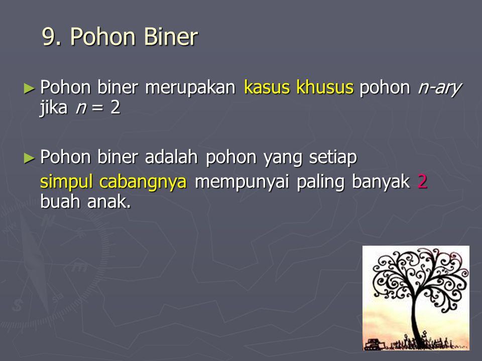 9. Pohon Biner Pohon biner merupakan kasus khusus pohon n-ary jika n = 2. Pohon biner adalah pohon yang setiap.