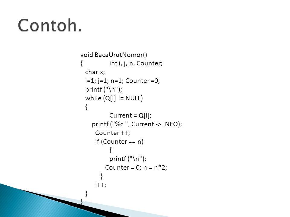 Contoh. void BacaUrutNomor() { int i, j, n, Counter; char x;