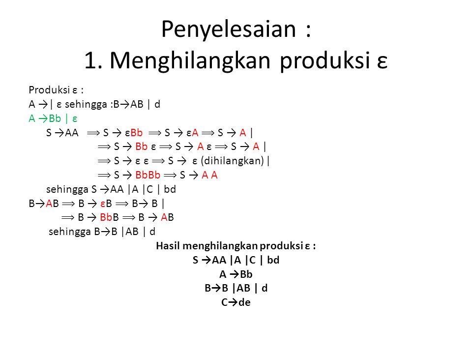 Penyelesaian : 1. Menghilangkan produksi ε