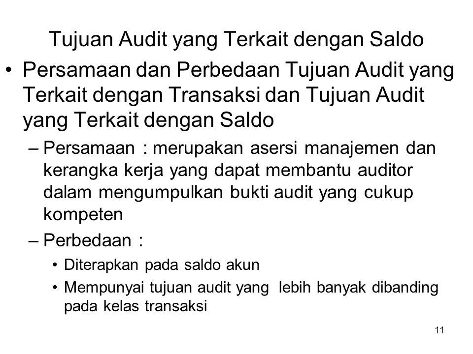 Tujuan Audit yang Terkait dengan Saldo