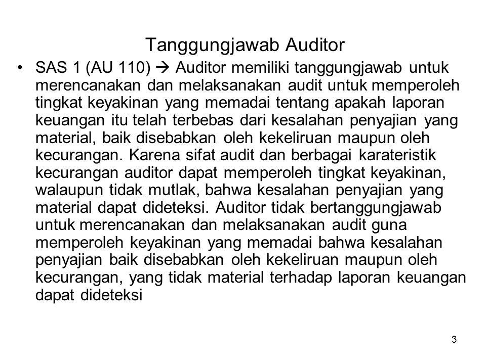 Tanggungjawab Auditor