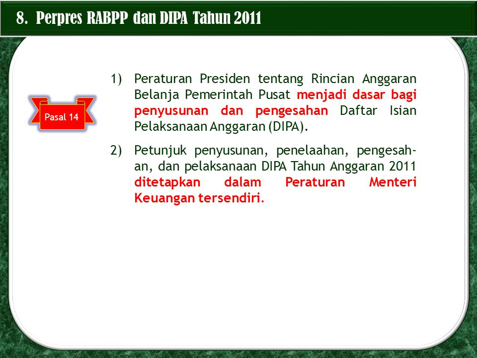 8. Perpres RABPP dan DIPA Tahun 2011