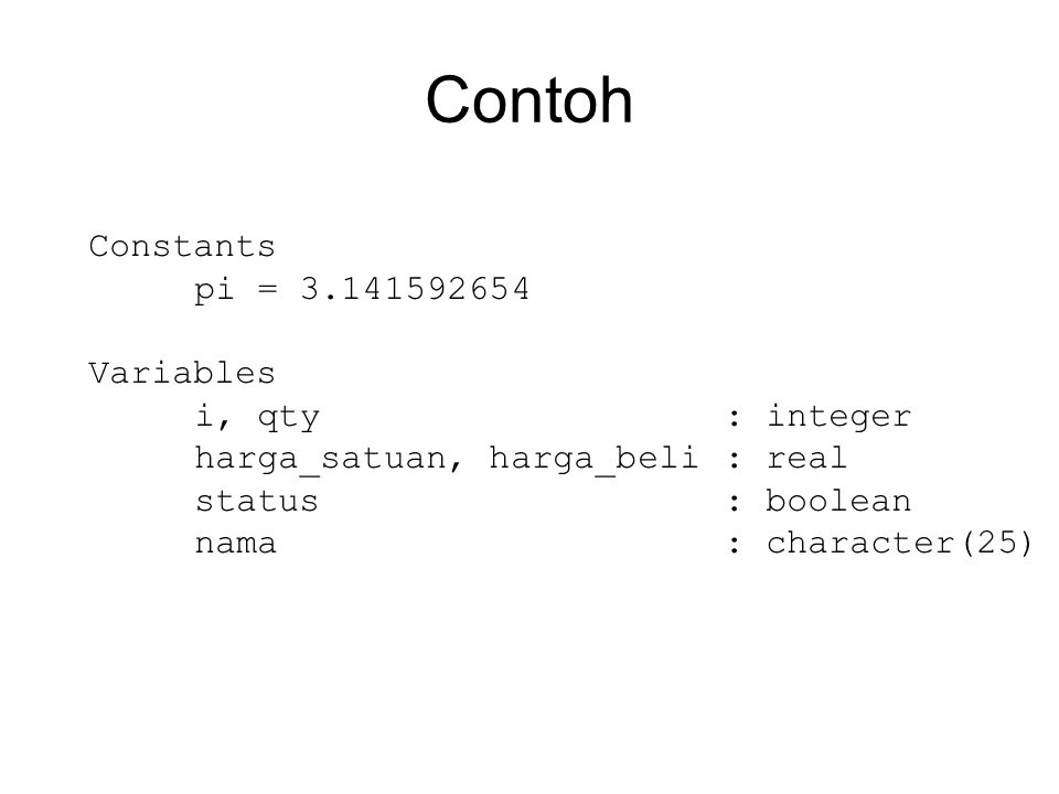 Contoh Constants pi = 3.141592654 Variables i, qty : integer