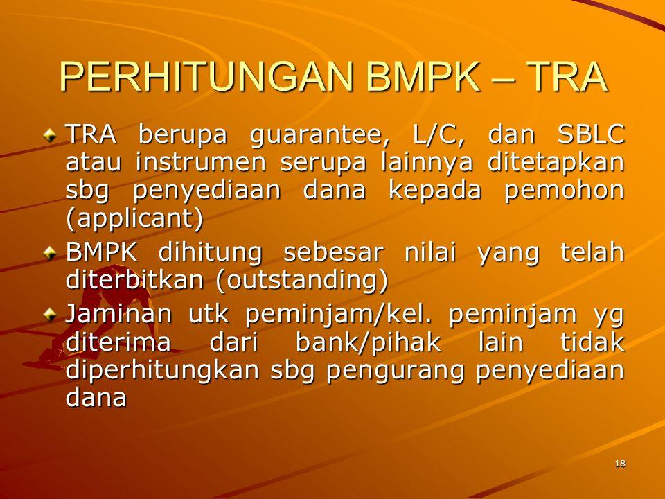 PERHITUNGAN BMPK – TRA TRA berupa guarantee, L/C, dan SBLC atau instrumen serupa lainnya ditetapkan sbg penyediaan dana kepada pemohon (applicant)