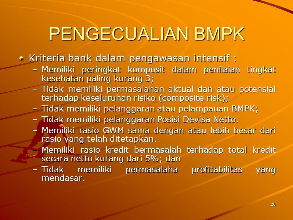 PENGECUALIAN BMPK Kriteria bank dalam pengawasan intensif :