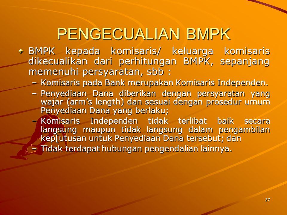 PENGECUALIAN BMPK BMPK kepada komisaris/ keluarga komisaris dikecualikan dari perhitungan BMPK, sepanjang memenuhi persyaratan, sbb :