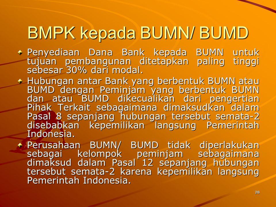 BMPK kepada BUMN/ BUMD Penyediaan Dana Bank kepada BUMN untuk tujuan pembangunan ditetapkan paling tinggi sebesar 30% dari modal.