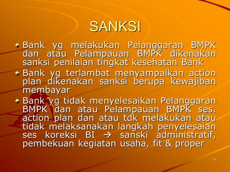 SANKSI Bank yg melakukan Pelanggaran BMPK dan atau Pelampauan BMPK dikenakan sanksi penilaian tingkat kesehatan Bank.