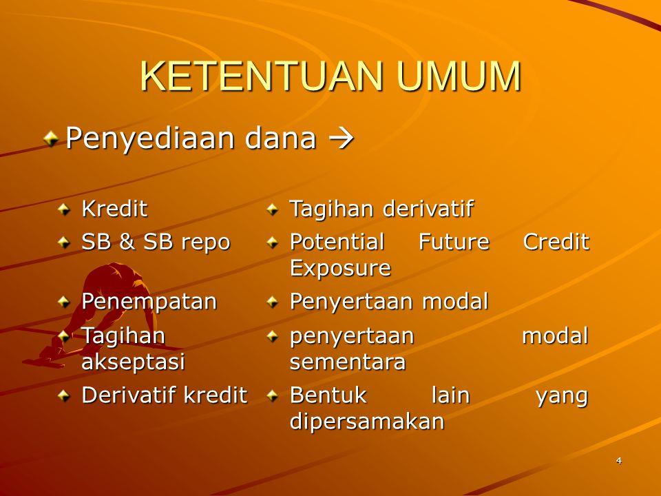 KETENTUAN UMUM Penyediaan dana  Kredit Tagihan derivatif SB & SB repo
