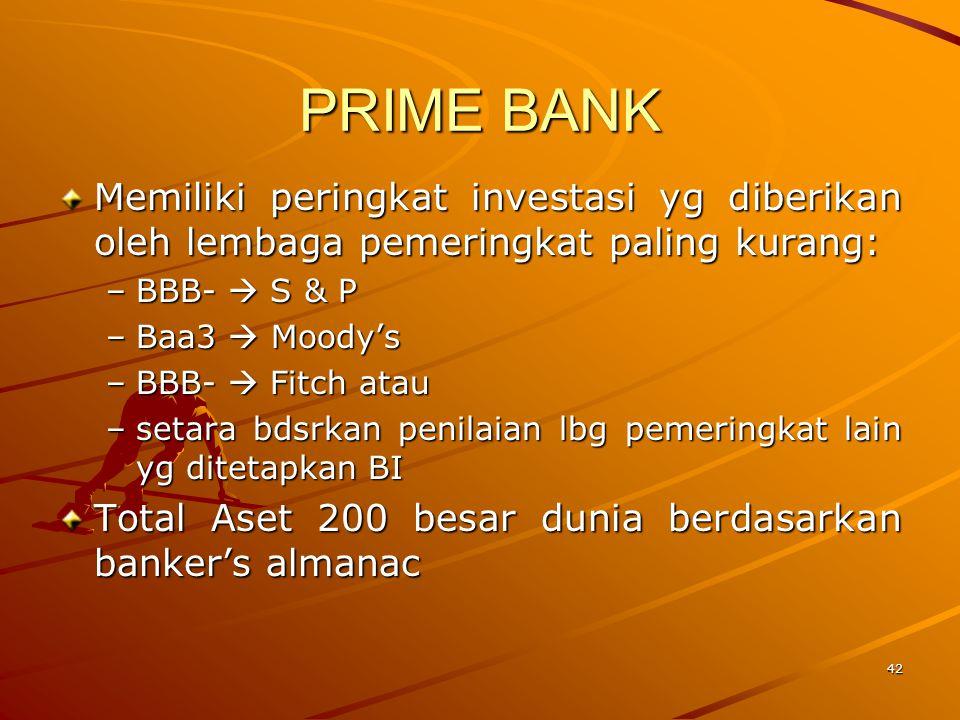 PRIME BANK Memiliki peringkat investasi yg diberikan oleh lembaga pemeringkat paling kurang: BBB-  S & P.
