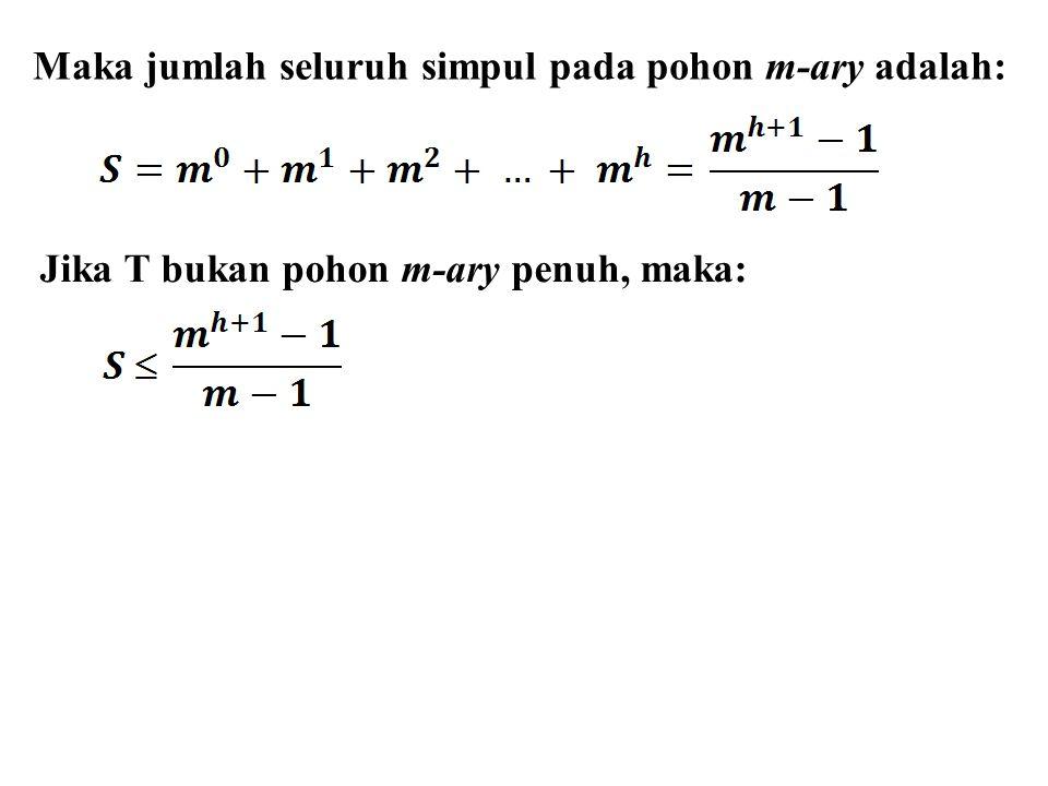 Maka jumlah seluruh simpul pada pohon m-ary adalah:
