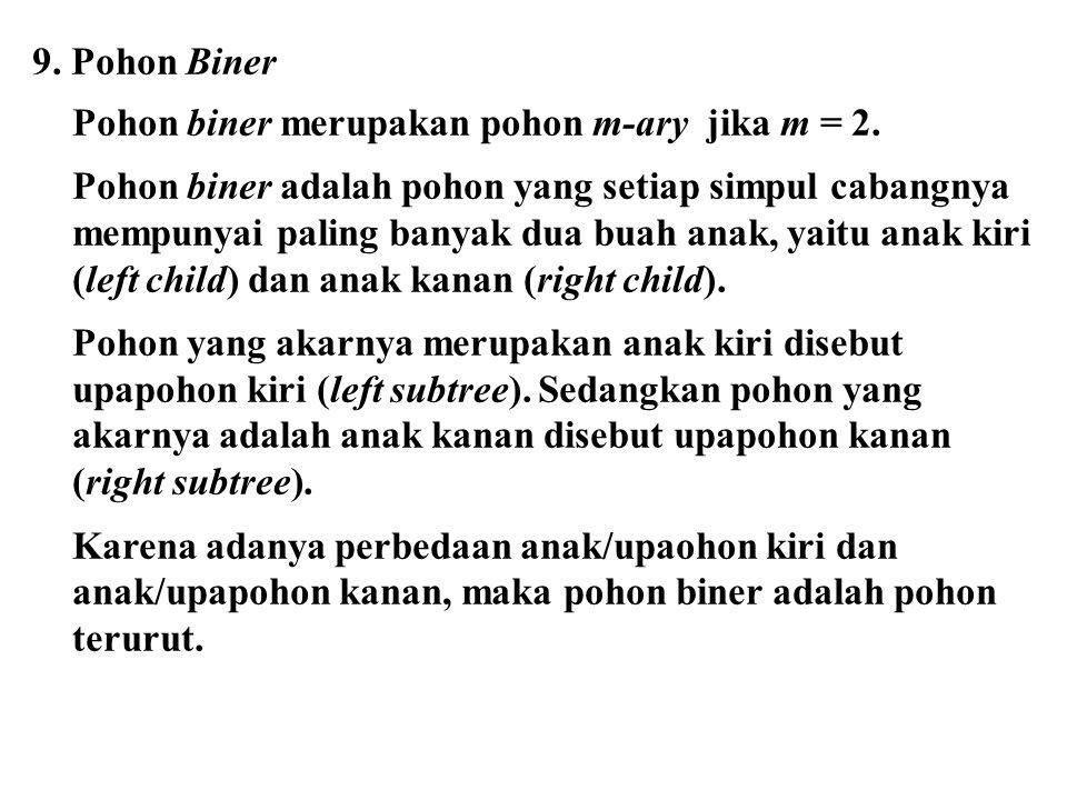 9. Pohon Biner Pohon biner merupakan pohon m-ary jika m = 2.