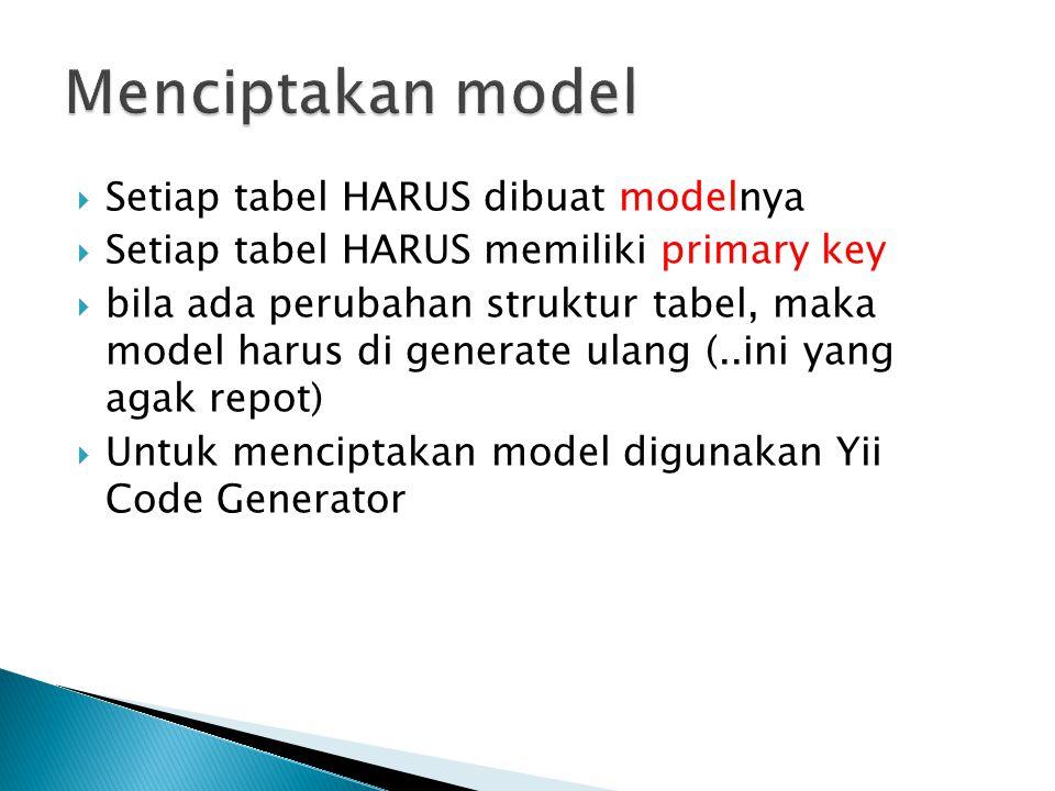 Menciptakan model Setiap tabel HARUS dibuat modelnya