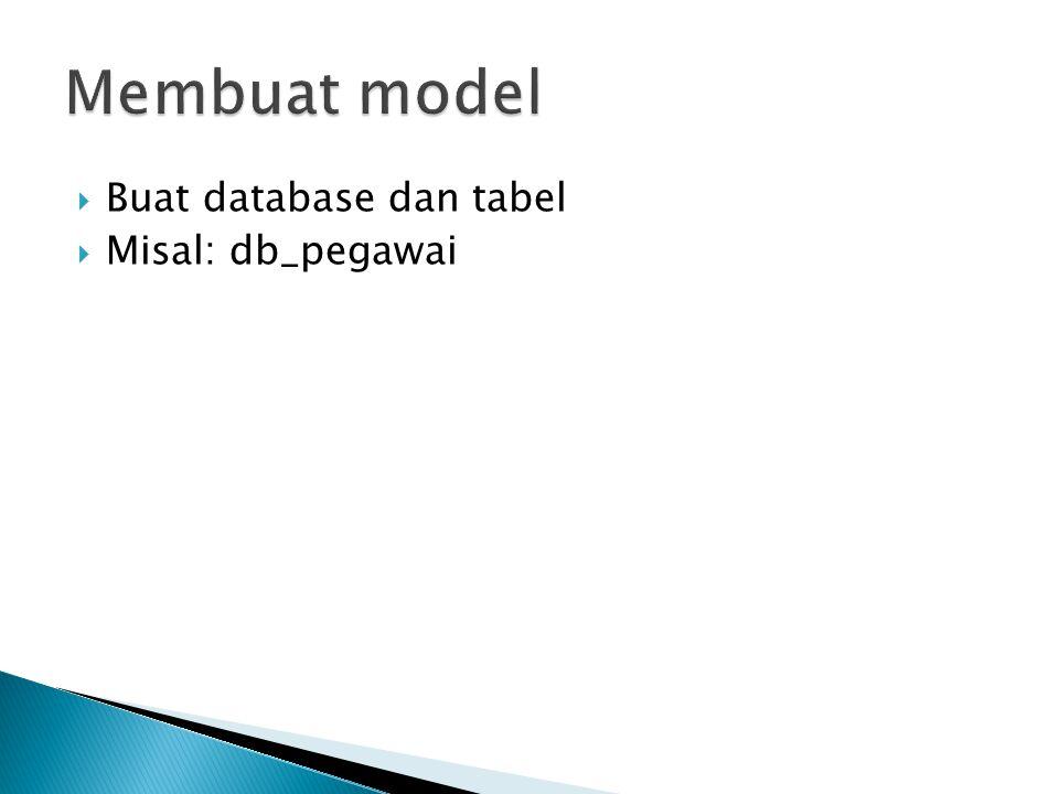 Membuat model Buat database dan tabel Misal: db_pegawai