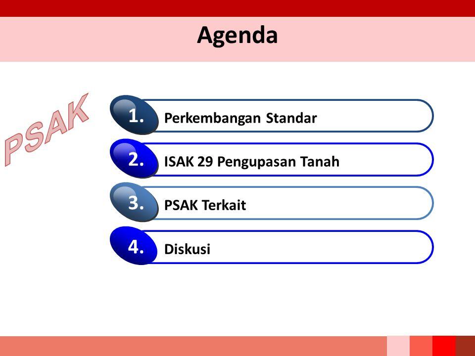 PSAK Agenda 1. 2. 3. 4. Perkembangan Standar ISAK 29 Pengupasan Tanah