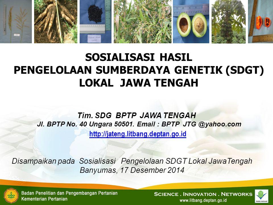 SOSIALISASI HASIL PENGELOLAAN SUMBERDAYA GENETIK (SDGT) LOKAL JAWA TENGAH