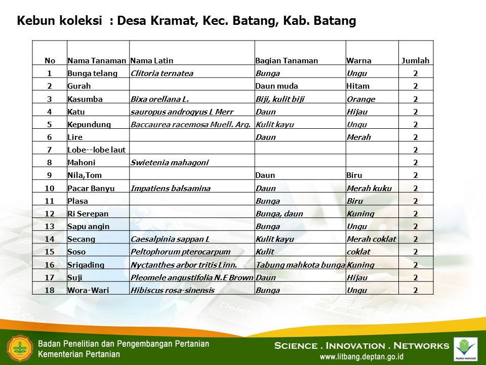Kebun koleksi : Desa Kramat, Kec. Batang, Kab. Batang