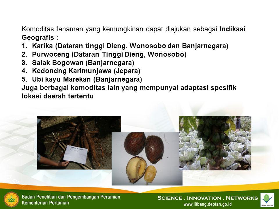Komoditas tanaman yang kemungkinan dapat diajukan sebagai Indikasi Geografis :
