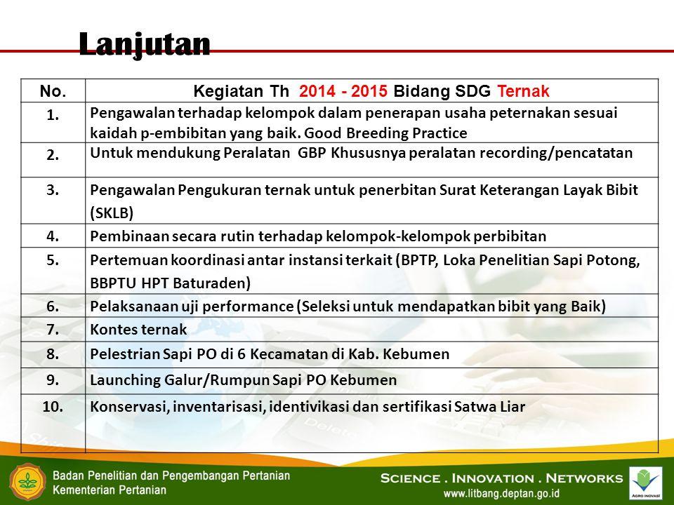 Kegiatan Th 2014 - 2015 Bidang SDG Ternak