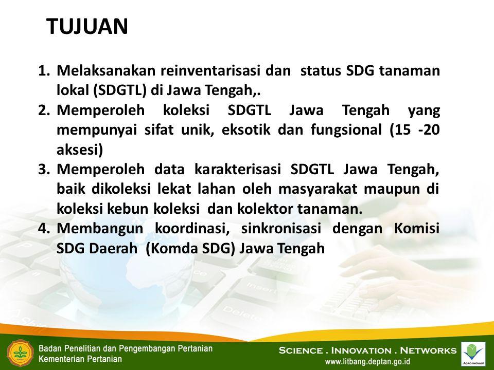 TUJUAN Melaksanakan reinventarisasi dan status SDG tanaman lokal (SDGTL) di Jawa Tengah,.