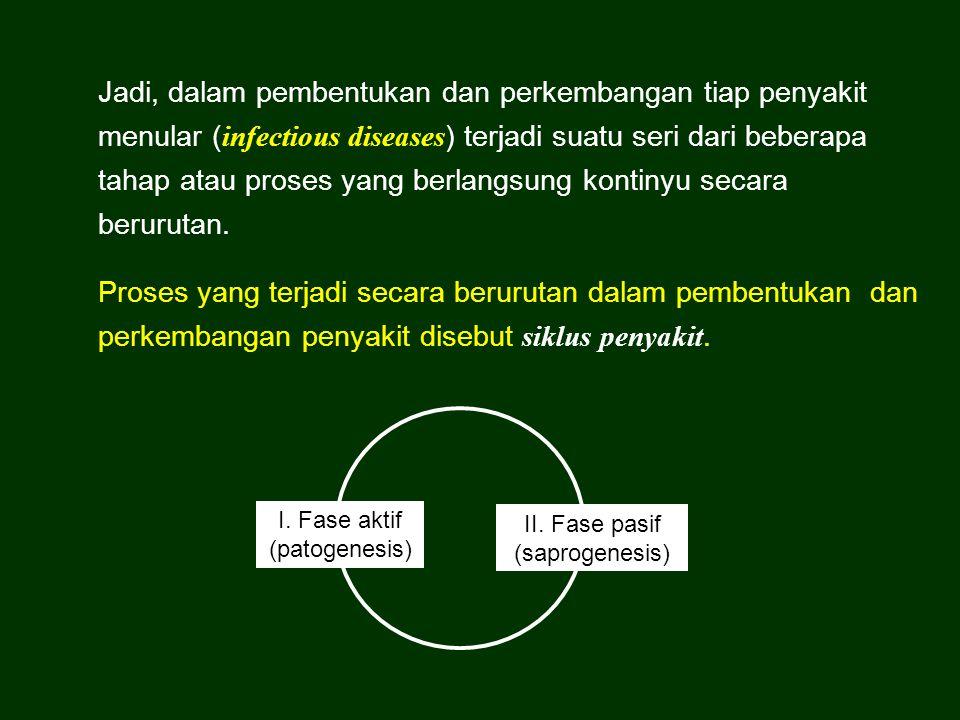 Jadi, dalam pembentukan dan perkembangan tiap penyakit menular (infectious diseases) terjadi suatu seri dari beberapa tahap atau proses yang berlangsung kontinyu secara berurutan.