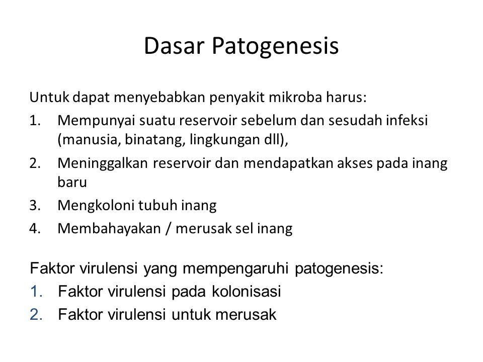 Dasar Patogenesis Untuk dapat menyebabkan penyakit mikroba harus: