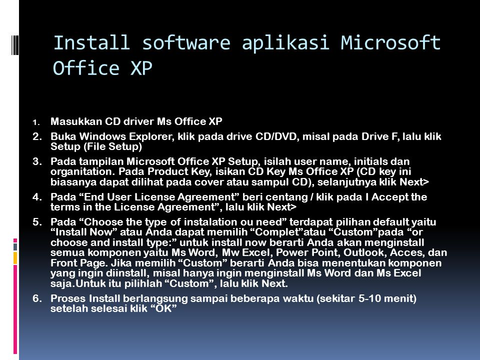 Install software aplikasi Microsoft Office XP
