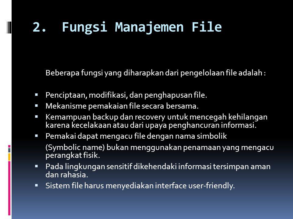 2. Fungsi Manajemen File Beberapa fungsi yang diharapkan dari pengelolaan file adalah : Penciptaan, modifikasi, dan penghapusan file.