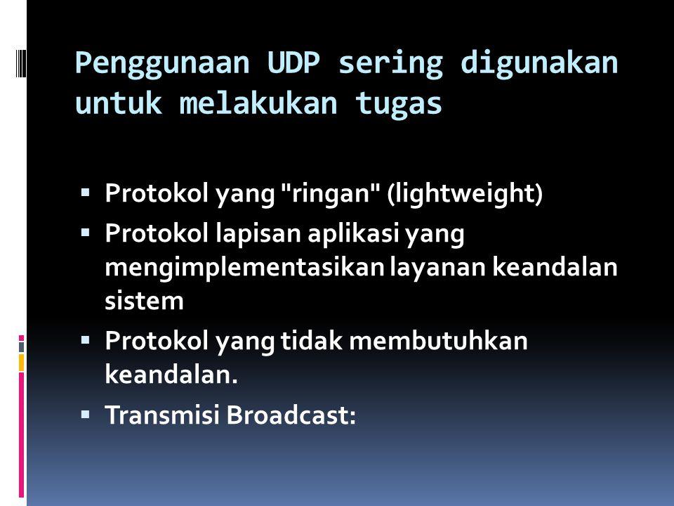 Penggunaan UDP sering digunakan untuk melakukan tugas