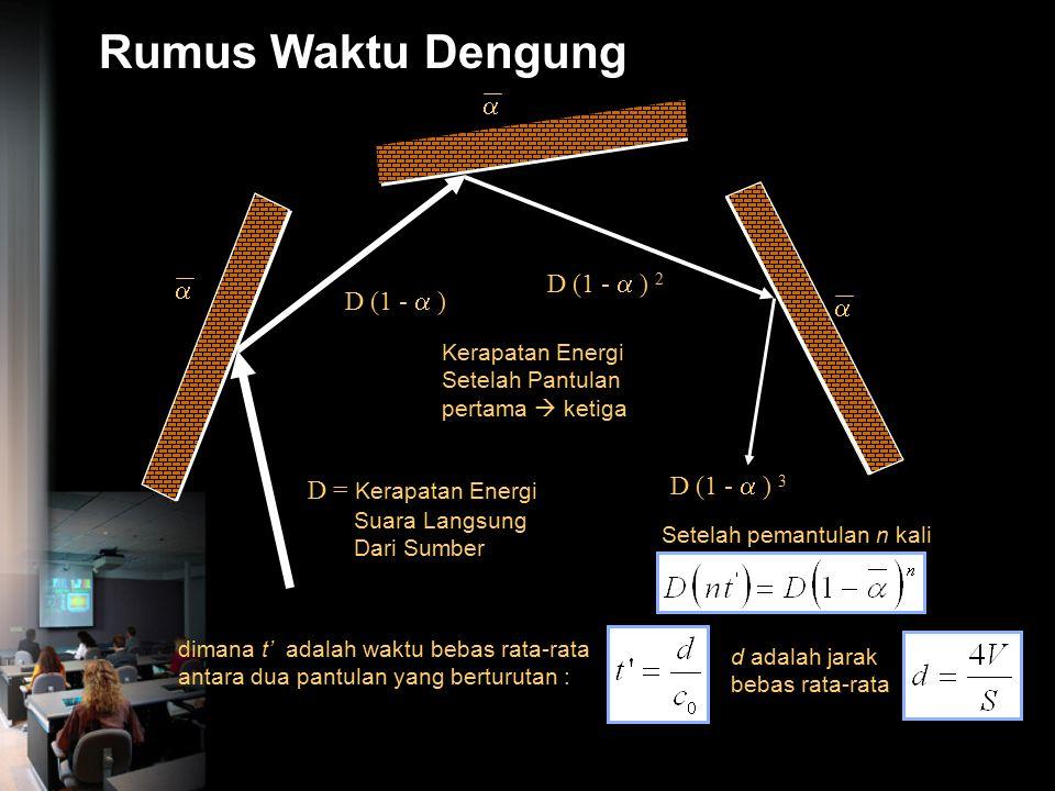 Rumus Waktu Dengung  D (1 -  ) 2  D (1 -  )  D (1 -  ) 3