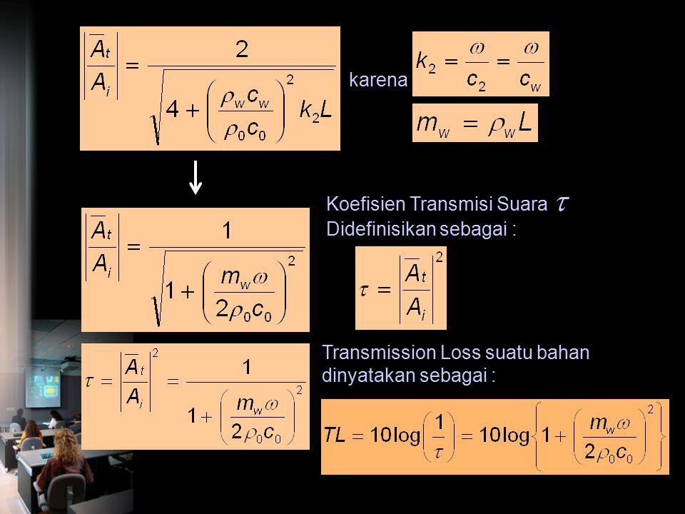 karena Koefisien Transmisi Suara  Didefinisikan sebagai : Transmission Loss suatu bahan dinyatakan sebagai :