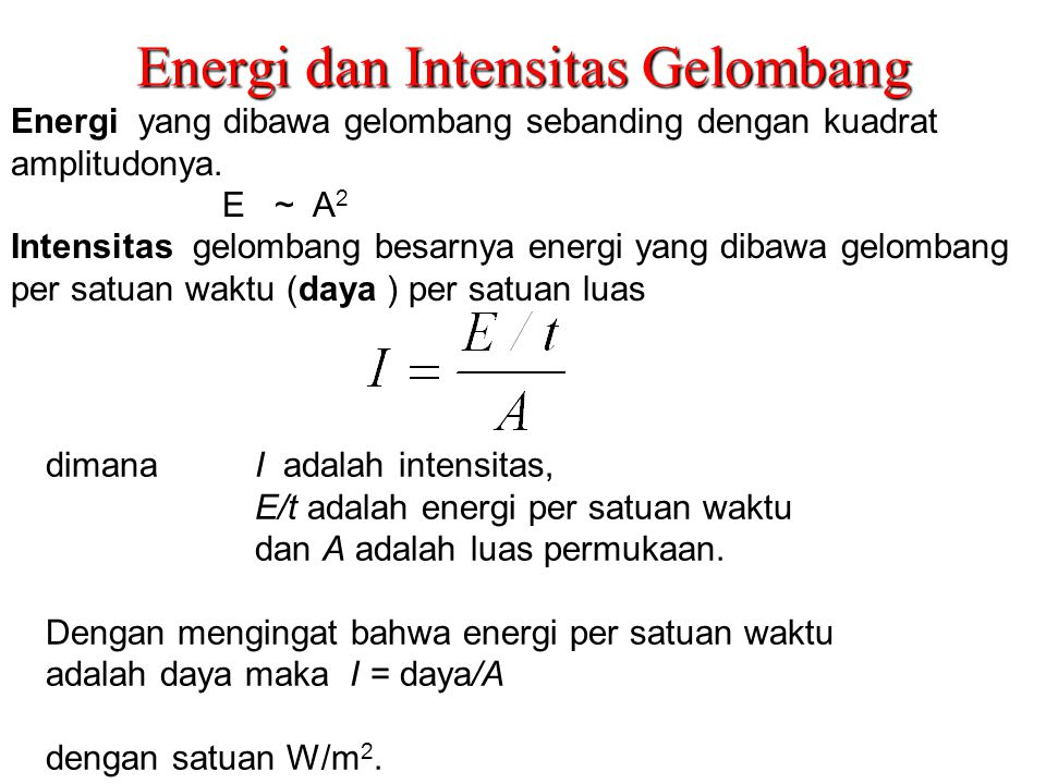 Energi dan Intensitas Gelombang