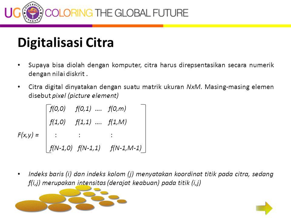 Digitalisasi Citra Supaya bisa diolah dengan komputer, citra harus direpsentasikan secara numerik dengan nilai diskrit .